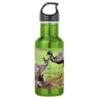 Kangaroo And Emu, Green Aluminum Water Bottle. 532 Ml Water Bottle
