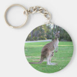 Kangaroo and Joey Basic Round Button Key Ring