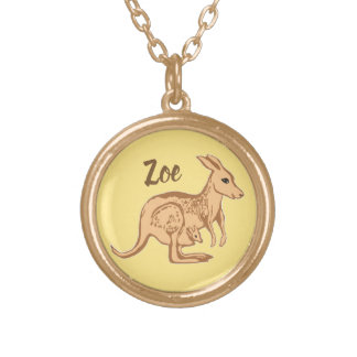 Kangaroo and Joey Personalized Yellow Necklace