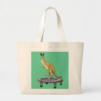 Kangaroo and Trampoline Large Tote Bag