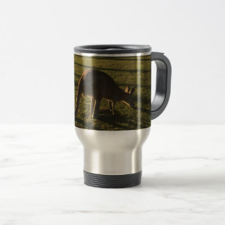 Kangaroo at dusk travel mug