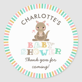 Kangaroo Baby Shower Thank You Classic Round Sticker