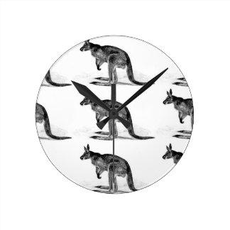 kangaroo boxed in square round clock