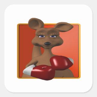 Kangaroo Boxer Square Sticker