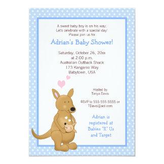 Kangaroo boy Baby Shower Invitation Blue