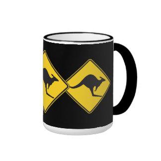 Kangaroo Caution Sign Ringer Mug