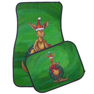Kangaroo Christmas on Painted Green Back Floor Mat
