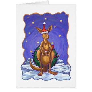Kangaroo Christmas Starry Night Card