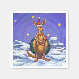 Kangaroo Christmas Starry Night Disposable Serviette