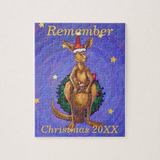 Kangaroo Christmas Starry Night Jigsaw Puzzle