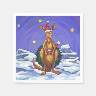 Kangaroo Christmas Starry Night Paper Napkin