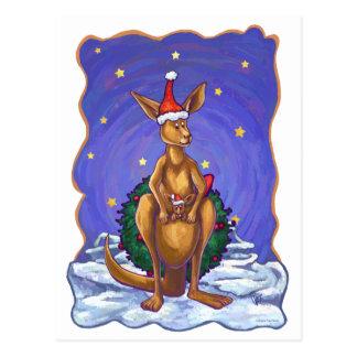Kangaroo Christmas Starry Night Postcard