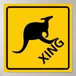 Kangaroo Crossing Highway Sign Posters