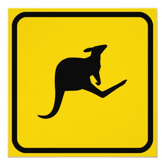 Kangaroo Crossing Invitation