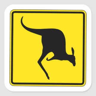 Kangaroo Crossing, Traffic Warning Sign, Australia Square Sticker