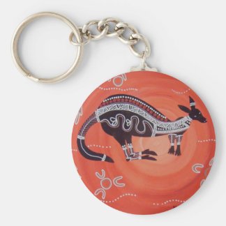 Kangaroo Dreaming Basic Round Button Key Ring