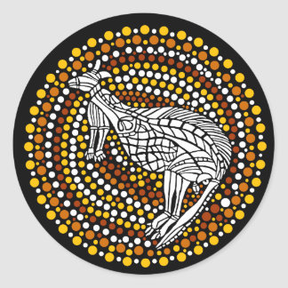 Kangaroo Dreamtime Round Sticker