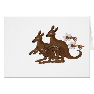 Kangaroo Family Baby in Pouch Boing Trip Cards