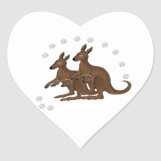 Kangaroo Family Baby in Pouch Daisy Trip Stickers