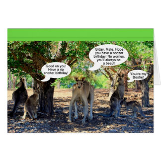 Kangaroo Family Happy Birthday Humor Card