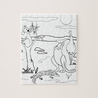 Kangaroo Friends Colour-In Jigsaw Puzzles