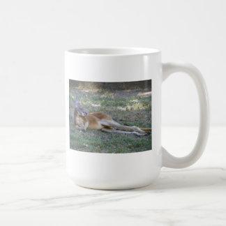 kangaroo lying around basic white mug