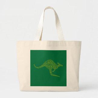 Kangaroo made of Australian slang Large Tote Bag