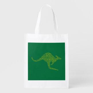 Kangaroo made of Australian slang Reusable Grocery Bag