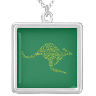 Kangaroo made of Australian slang Silver Plated Necklace