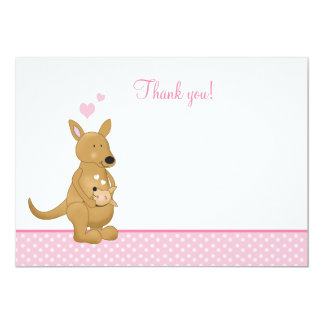 Kangaroo Mommy and Baby Flat Thank You notes 13 Cm X 18 Cm Invitation Card