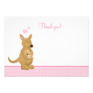 Kangaroo Mommy and Baby Flat Thank You notes Personalized Invites