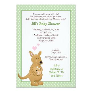 Kangaroo Neutral Baby Shower Invitation Green