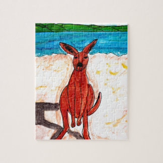 Kangaroo on Beach Jigsaw Puzzle