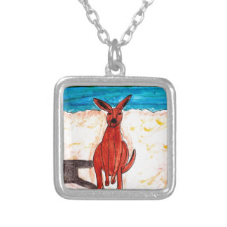 Kangaroo on Beach Silver Plated Necklace