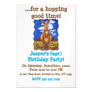 Kangaroo Party Center Magnetic Invitations