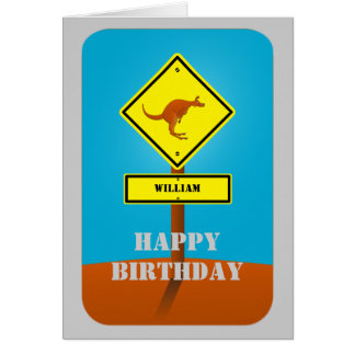 Kangaroo personalized birthday card