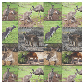 Kangaroo Photo Collage , Fabric