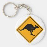Kangaroo Road Sign Keychain