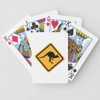 Kangaroo road sign bicycle playing cards