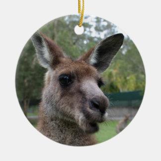 Kangaroo selfie ceramic ornament