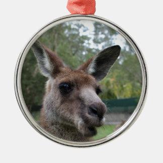 Kangaroo selfie metal ornament