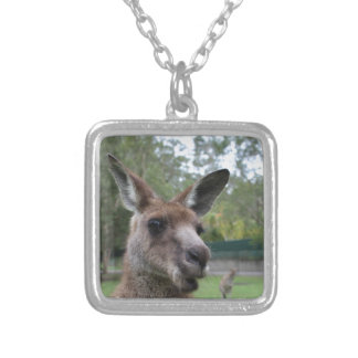 Kangaroo selfie silver plated necklace