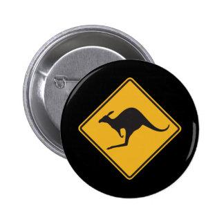 Kangaroo sign 6 cm round badge