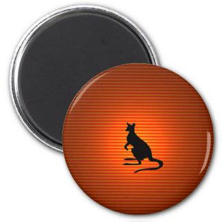 Kangaroo Silhouette on Orange and Red Stripes Fridge Magnets