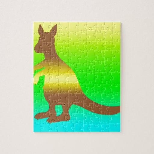 Kangaroo Silhoutte fresh yellow and green Jigsaw Puzzle