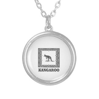 kangaroo squared silver plated necklace