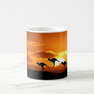Kangaroo Sunset Basic White Mug
