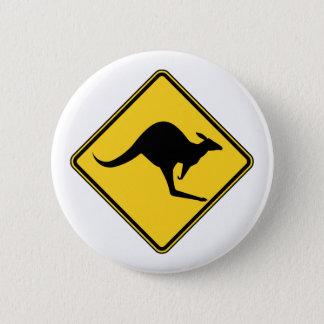 kangaroo warning danger in australia day 6 cm round badge