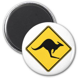 kangaroo warning danger in australia day 6 cm round magnet