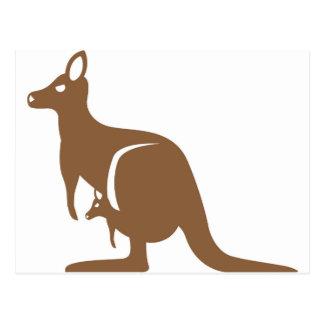 Kangaroo with baby postcard